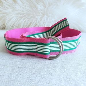 J. Crew Striped Belt Pink/Green D Ring Fabric